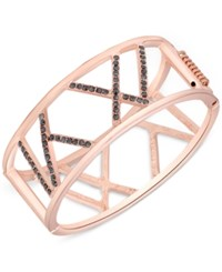 T Tahari Rose Gold Tone Crystal Cut Out Hinged Bangle Bracelet