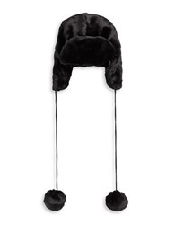 Kyi Kyi Pom Pom Ends Faux Fur Trapper Hat Black