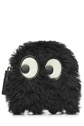 Anya Hindmarch Ghost Shearling Zipped Coin Purse Black