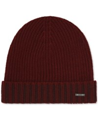 Hugo Boss Men's Ribbed Beanie Hat Mediumred