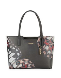 Calvin Klein Printed Leather Tote Black Butterfly