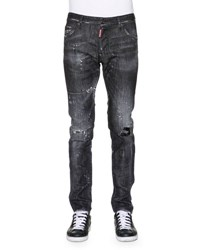 Dsquared Cool Guy Distressed Washed Denim Jeans Black