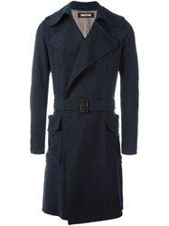 Nuur Belted Patch Pockets Coat Blue