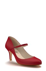 Women's Shoes Of Prey Leather Mary Jane Pump Soft Red