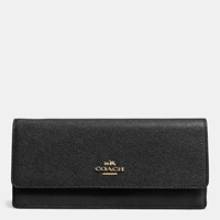 Coach Soft Wallet In Embossed Textured Leather Light Gold Black