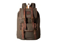 Sts Ranchwear The Foreman Backpack Dark Khaki Canvas Leather Backpack Bags Brown