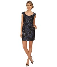 Aidan Mattox Cap Sleeve Foil Jacquard Cocktail Dress Blue Black Women's Dress