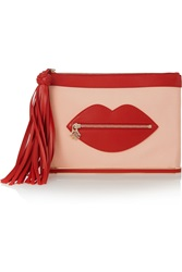 Charlotte Olympia Shush Leather Trimmed Satin Crepe Pouch