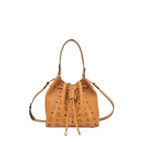 Mcm Gold Visetos Drawstring Medium Bag
