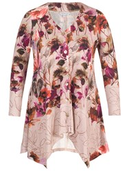 Chesca Floral Border Print Jersey Cardigan Pink