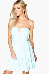 Boohoo Becky Mesh Rouched Plunge Prom Dress Mint