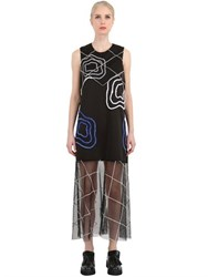 Natargeorgiou Neoprene And Tulle Embroidered Dress