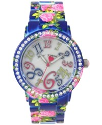 Betsey Johnson Women's Pink Floral Printed Blue Stainless Steel Bracelet Watch 42Mm Bj00482 08
