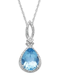 Lord And Taylor 14Kt. White Gold Diamond Blue Topaz Pendant Necklace Blue Topaz White Gold