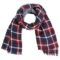 Miss Selfridge Check Reverse Scarf Burgundy