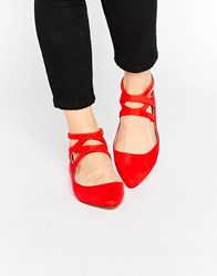 London Rebel Cross Strap Flat Shoes Red