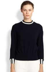 3.1 Phillip Lim Striped Trim Cashmere Sweater Navy