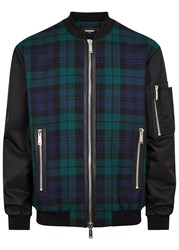 Dsquared Contrast Sleeve Checked Wool Bomber Jacket