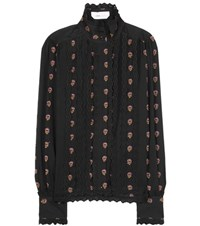 See By Chloe Eyelet Trimmed Cotton Fil Coupe Blouse Black
