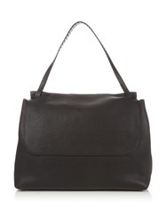 The Row Grained Leather Shoulder Bag Black