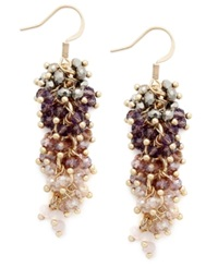 C.A.K.E. By Ali Khan Earrings Gold Tone Mauve Glass Bead Cascade Drop Earrings