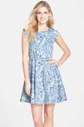 Felicity And Coco Floral Print Fit And Flare Dress Regular And Petite Nordstrom Exclusive Blue