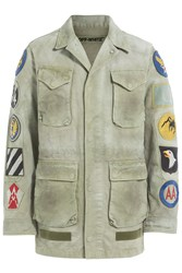 Off White Cotton Jacket With Patches Green