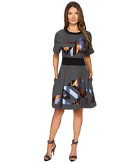 Just Cavalli Geo Sequin Sweatshirt Dress Grey Women's Dress Gray