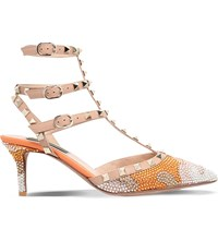 Valentino Shining 65 Studded Heeled Courts Peach