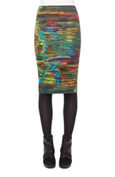 Women's Akris Punto 'Northern Lights' Print Stretch Jersey Pencil Skirt