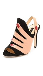 Chrissie Morris Kindra Hand Mules Black Pink