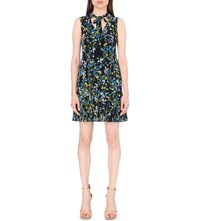 Karen Millen Tie Neck Floral Print Chiffon Dress Multi Coloured