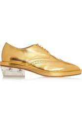 Simone Rocha Metallic Textured Leather Brogues