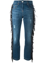 Roberto Cavalli Fringed Cropped Jeans Blue