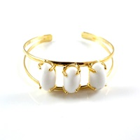 Amanda Marcucci Gold White Jade Bangle White Gold