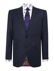 New And Lingwood Tutberry Peak Lapel Flannel Suit Jacket Blue