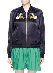 Muveil Embellished Tiger Embroidery Satin Bomber Jacket Blue