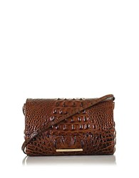 Brahmin Carina Embossed Leather Shoulder Bag Pecan