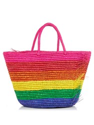 Sensi Studio Candy Stripe Frayed Woven Tote Multi