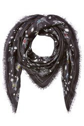 Alexander Mcqueen Jeweled Print Scarf With Silk Black
