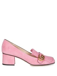 Gucci Marmont Fringed Suede Loafers Pink