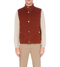 Gieves And Hawkes Quilted Wool Gilet Burnt Orange