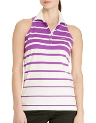 Lauren Ralph Lauren Striped Sleeveless Polo Shirt Purple White