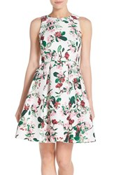 Women's Gabby Skye Fruit And Floral Print Cutout Back Jacquard Fit And Flare Dress