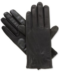 Isotoner Signature Isotoner Gathered Stretch Leather Tech Touch Gloves Black