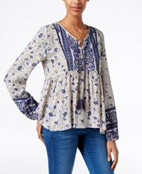 American Rag Printed Peasant Top Only At Macy's White Multi