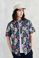 Cpo Woodblock Floral Short Sleeve Button Down Shirt Floral Multi