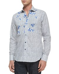 Bogosse Flower Print Long Sleeve Sport Shirt Blue Blue Patrn