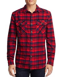Superdry Milled Flannel Plaid Regular Fit Button Down Shirt Ontario Navy Check