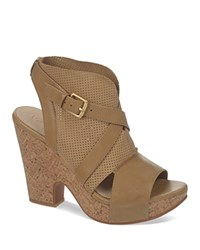 Naya Open Toe Platform Sandals Maple Tan
